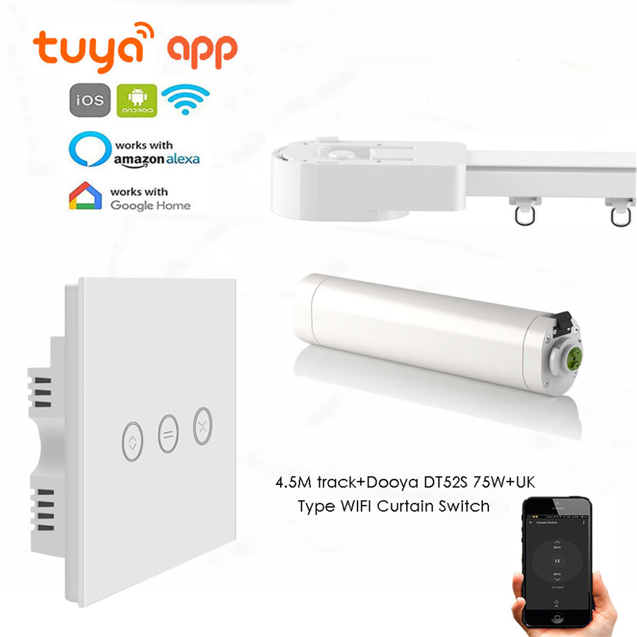 Dooya DT52S 75W Motor+4.5M Or Less Track+UK Type WIFI Curtain Switch,Touch On/off,Tuya App WIFI Remote,Support Alexa/Google Home