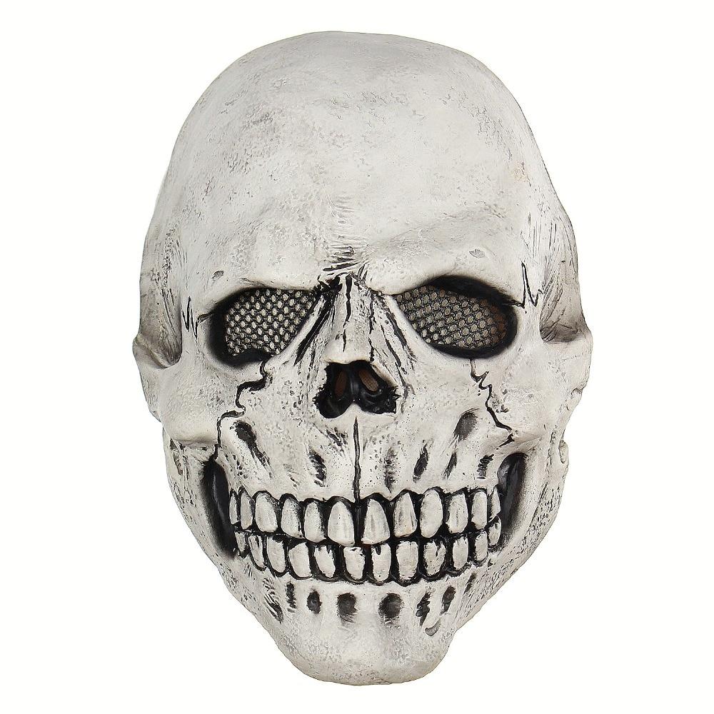 Белая маска Череп Скелет с костюмом накладная маска страшная маска латексная маска клоуна для Хэллоуина|Маски для вечеринки|   | АлиЭкспресс