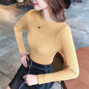 Woman Sweater Autumn Dress New Type Bottom Sweater Long Sleeve One-collar Short-style Jacket, Body-repair Knitted Sweater