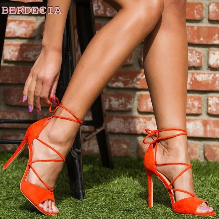 orange suede leather woman sandals party wedding ladies thin heel shoes ankle strap open toe sandals open toe lace up sandals sandalia feminina suede leather ankle strap ladies open toe pumps black high heel sandals women wedding shoes dorisfanny