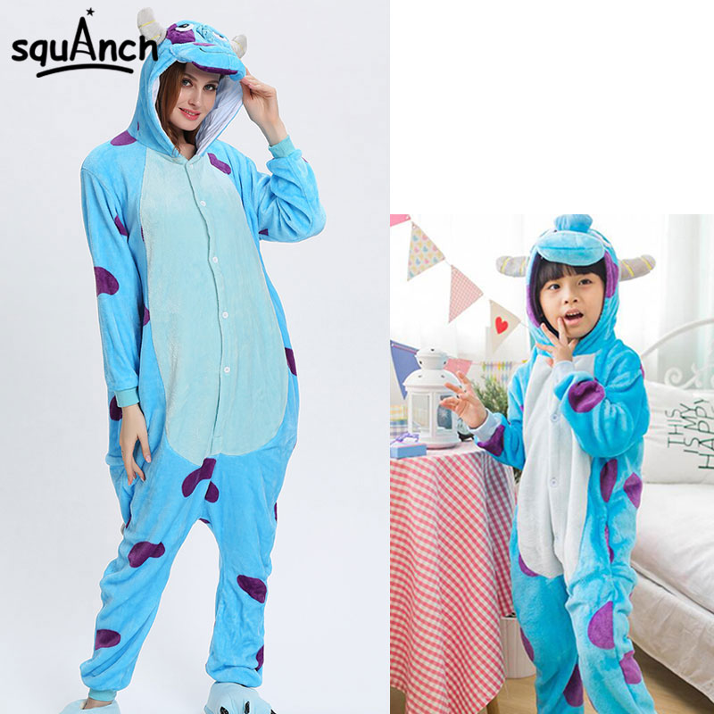 Sullivan Monster Onesies Cartoon Animal Sully Kigurumi Women Men Girl Boy Pajama Funny Fancy Party Suit Winter Home Soft Overall