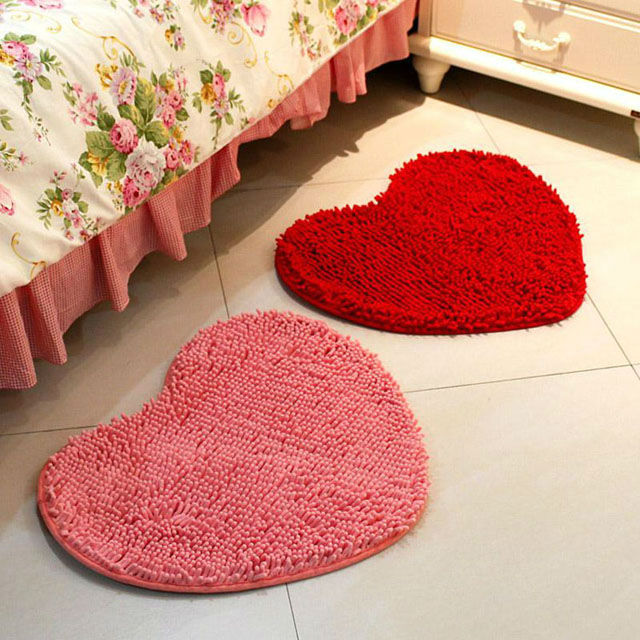 Cute Red Pink Fluffy Bedroom Rug Carpet Floor Bath Mat Love Heart Rugs And  Carpets 43X59cm