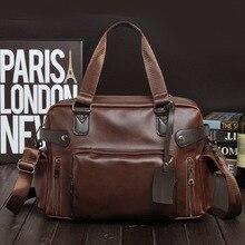 Men's Casual Fashion Business PU Leather Travel Bags Large Retro Luggage Brand classic Travel Duffle Big Portable Handbag