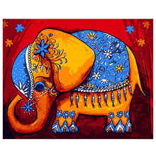 Decorative Canvas Painting By Numbers Animal,Diy Oil Cute Elephant