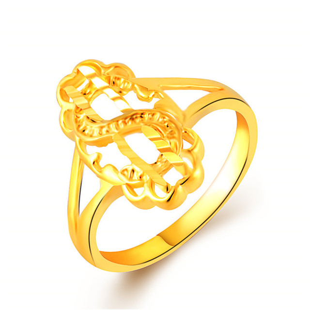 Fancy Design Letter S Shaped Yellow Gold Color Rings Jewelry Custom