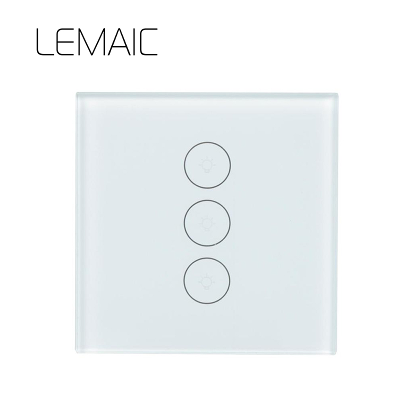 LEMAIC Remote Control Switch EU Standard 3 Gang 1 Way Wall Touch Screen Light Switch Luxury Glass Switch Panel Smart Home touch switch eu standard wall switch 2 way control switch glass panel wall light touch screen switch kt001deu