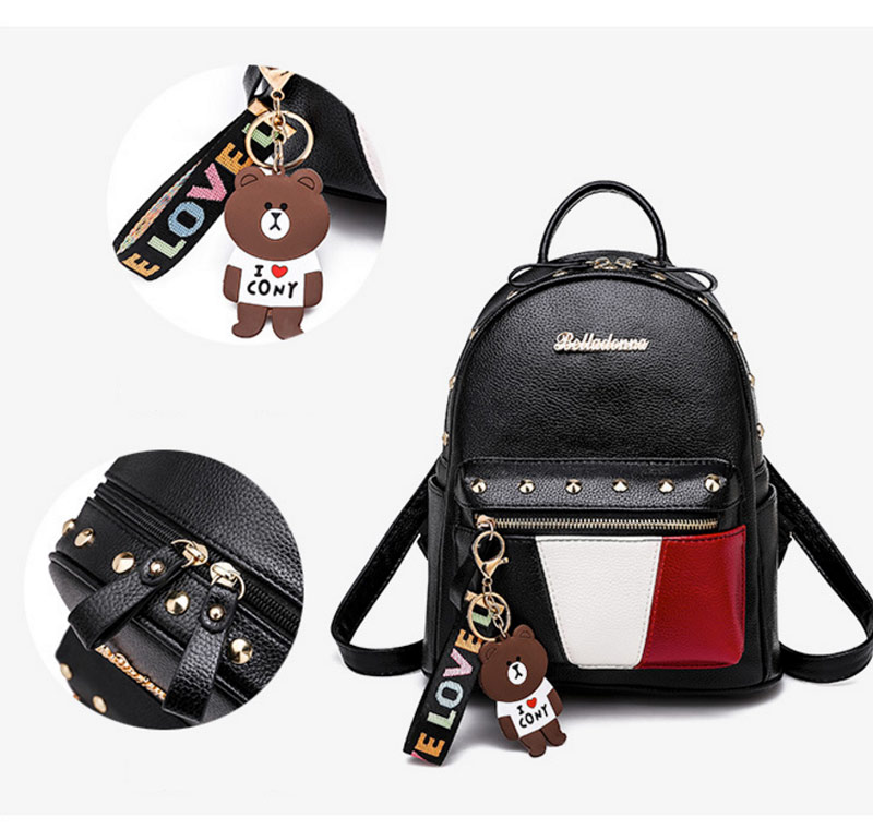 2019 Women Preppy Style Panelled Color Print Backpack Black Studded PU Faux Leather School Bag Small Fashion Rivet Travel Pack (1)