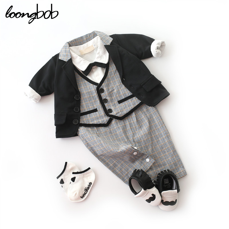 New Baby Boy 2pcs Clothing Set Boys Black Outfits + Bow Tie Plaid Romper Newborn College Style Formal Suit Infant Clothes
