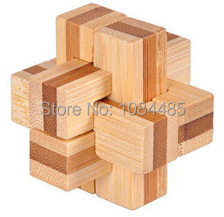 High Quality Bamboo Interlocking Cross Puzzle for Adults Size 4.5*4.5 CM