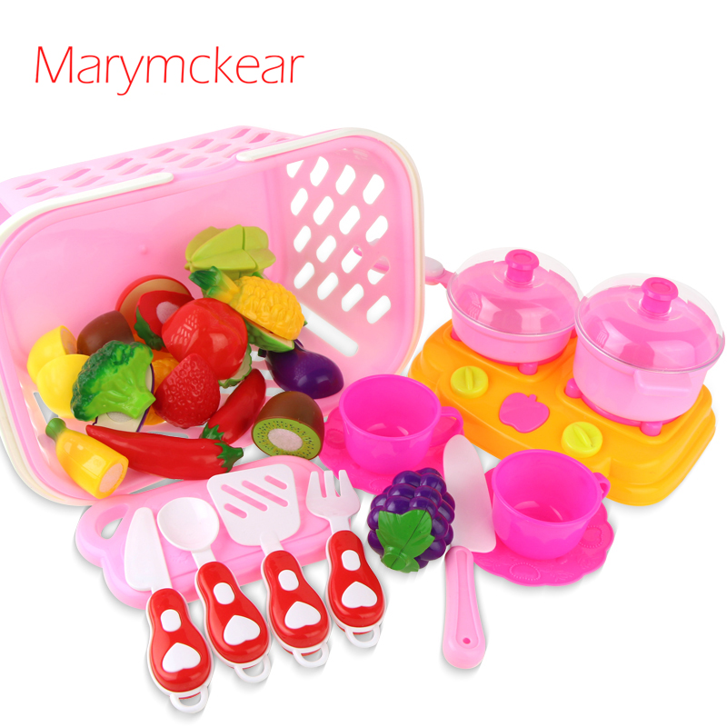 26PCS/set DIY Children Play House Kitchen Toy Cutting Plastic Fruit Vegetables Pretend Playset Toys Educational toys for kids