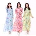 Малайзия новый женский длинное платье исламские мусульманские платья шифоновое платье дамы с длинными рукавами одежда абая Большой размер турецкий платье