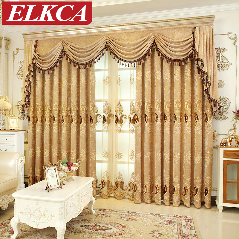 European Embroidered Chenille Curtains for Living Room Luxury Tulle Curtains for the Bedroom Chinese Window Treatment Curtains