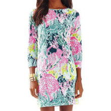 New Trendy 2017 Women Dress Summer Fashion Three Quarter Sleeve O-Neck Printed A-Line Casual Dress Mini Party Dresses Vestidos