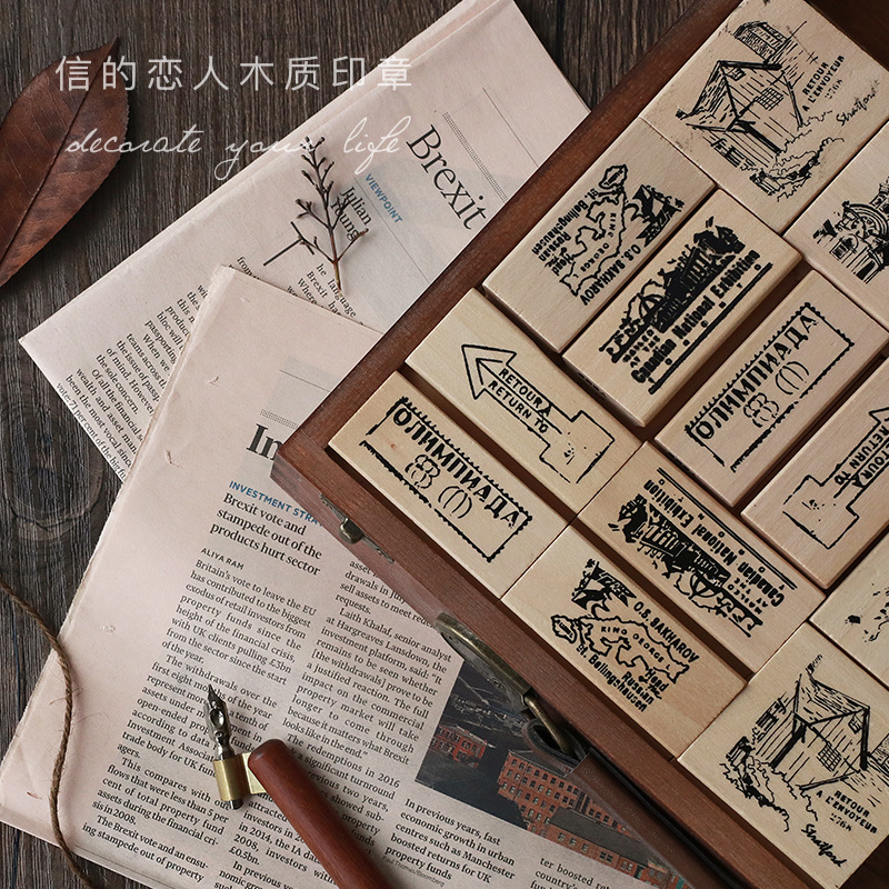 Vintage Europe Travel Memory Series Wood Stamp DIY Wooden Rubber Stamps For Scrapbooking Stationery Decorate Scrapbooking Stamp