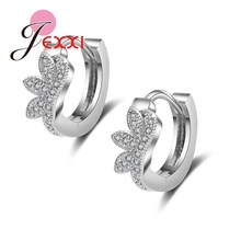 PATICO Luxury Pure Silver Hoop Lever Back  Earrings Inlay Zircon Fashion Brilliant Eyelashes Shape Ladies Wedding Jewelry