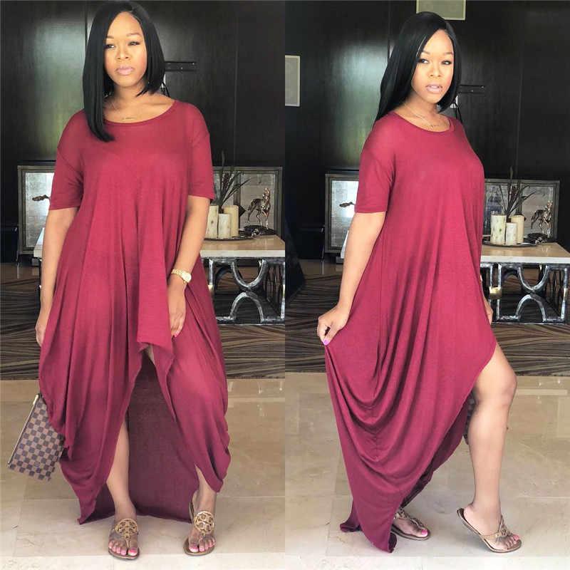 Più il Formato Solido di Estate Allentato Casual Delle Donne del Vestito O-Collo Manica Corta Increspato Irregolare Lungo Abito T-Shirt Streetwear Maxi Vestito