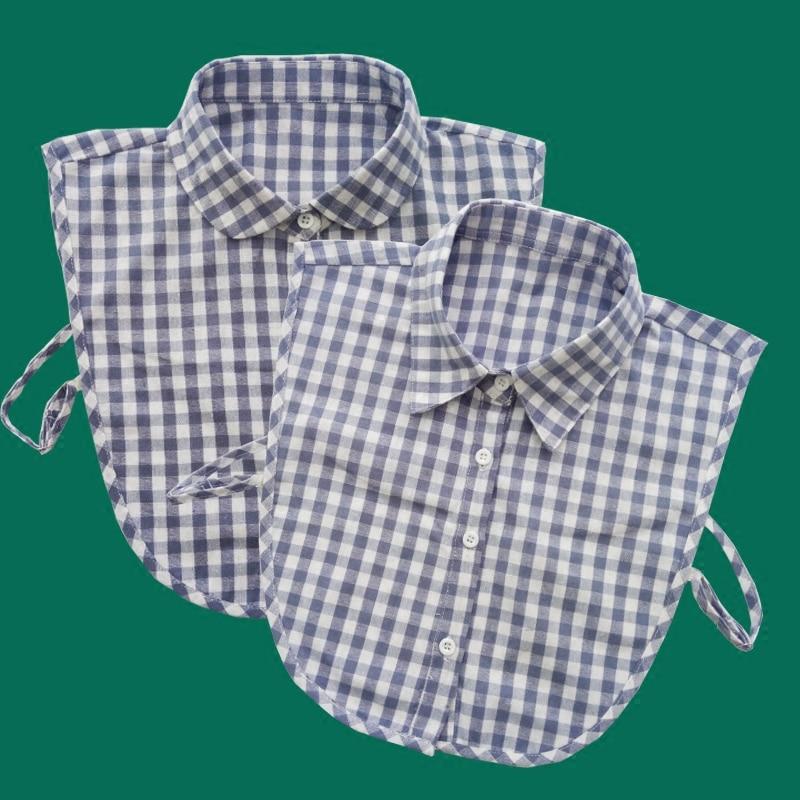 Fashion Women Shirt Fake Collar Cotton Plaid Nep Kraagje Blouse False Detachable Collars Clothes Accessories