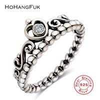 HoHangFuk 100% 925 Sterling Silber Schmuck Ring Für Frauen Hochzeit prinzessin Crown Zirkon Ring Frauen Party Ring Beste Geschenk Für mädchen