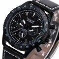 Limited Sports Multi-función de Los Hombres Correa de Cuero Reloj Mecánico Automático 3 Sub-esferas mens relojes de primeras marcas de lujo + Caja de regalo