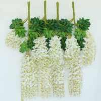 1 SET 12pcs 110 cm Artificial Silk Wisteria Fake Garden Hanging Flower Plant Vine Home Wedding Party Event Decor