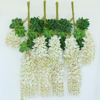 CONJUNTO 1 12 pcs 110 centímetros Falso Hanging Garden Planta Flor Artificial Silk Wisteria Vine Casamento Casa Festa Decoração Evento