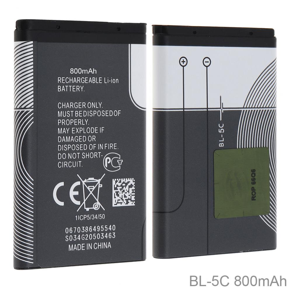 BL-5C 3.7V 800mAh Phone Built-in Li-ion Replacement Battery With Battery Cells PTC Protection For Nokia 3100 N70 N72 N91 5130