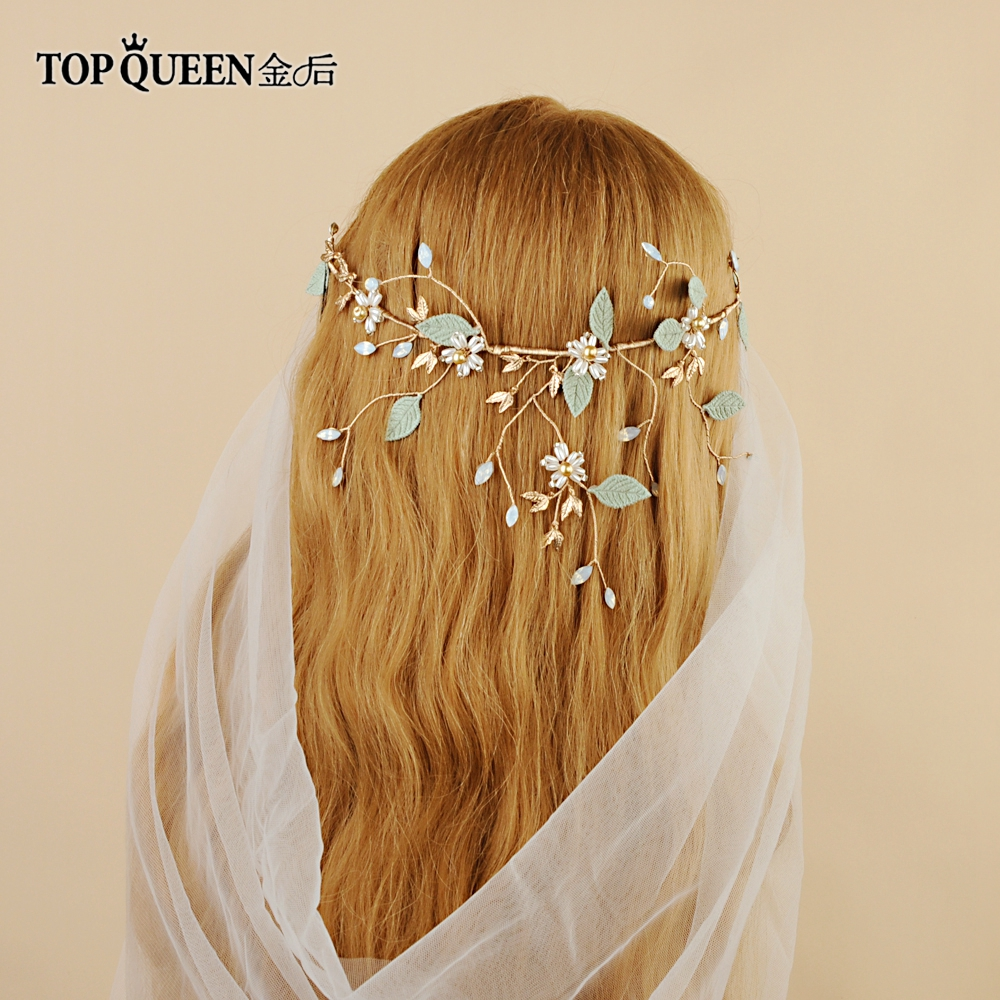 TOPQUEEN HP203 Bridal Hair Accessories Bridal Tiara Cotton Leaves Wedding Tiara And Crown Crystal Bride Hair Jewelry Handmade