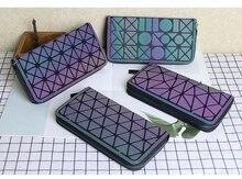 OE Fashion Geometric Luminous Purse Wallet Women Clutch Ladies Cards Holder Noctilucent Long кошелек женский Mochila