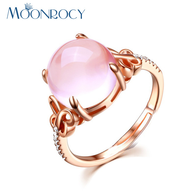MOONROCY Cubic Zirconia Rose Gold Color Ross Quartz Crystal Pink