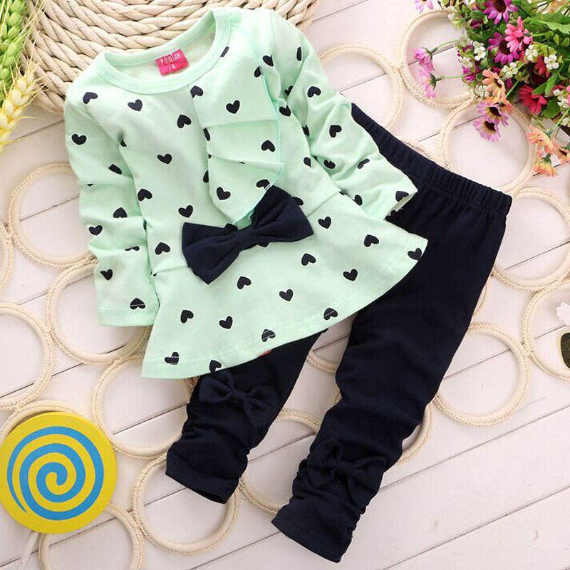 2PCS Kids Set T shirt + Pants candy color New Baby Sets Heart shaped Print Bow Cute baby suit Ruffle decoration cute fashion 40 fashion baby girl t shirt set cotton heart print shirt hole denim cropped trousers casual polka dot children clothing set