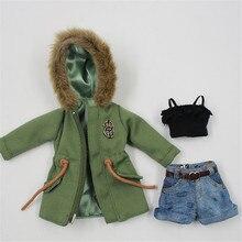Neo Blythe Doll Army Jacket Denim Shorts & Lace Bra