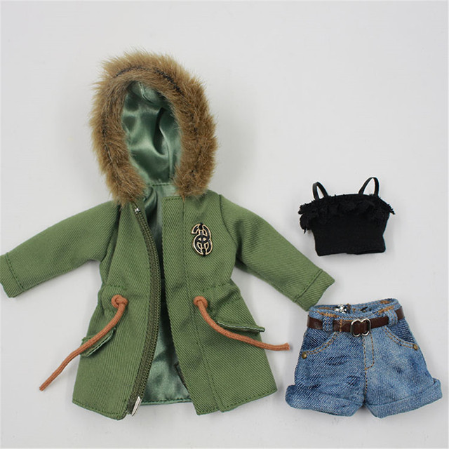 Trendy Green Army Jacket with Denim Shorts and Top For 1/6 Doll