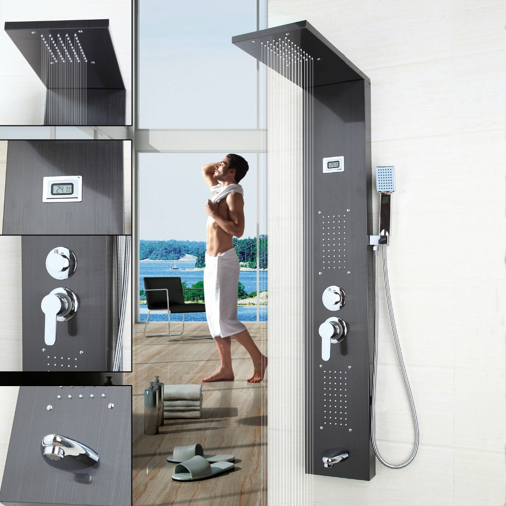 Reasonable Bathroom Contemporary Fashion Luxury Shower Column Shower Panel Hand Shower Massage Jets Brushed Nickle Plate Shower Faucet Nourishing The Kidneys Relieving Rheumatism Shower Equipment