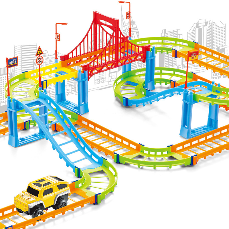 Magical Railway Road Track Car Toys DIY Electric Racing Car Train Model Educational Assembly Rail Tracks Toy For Kid Gift
