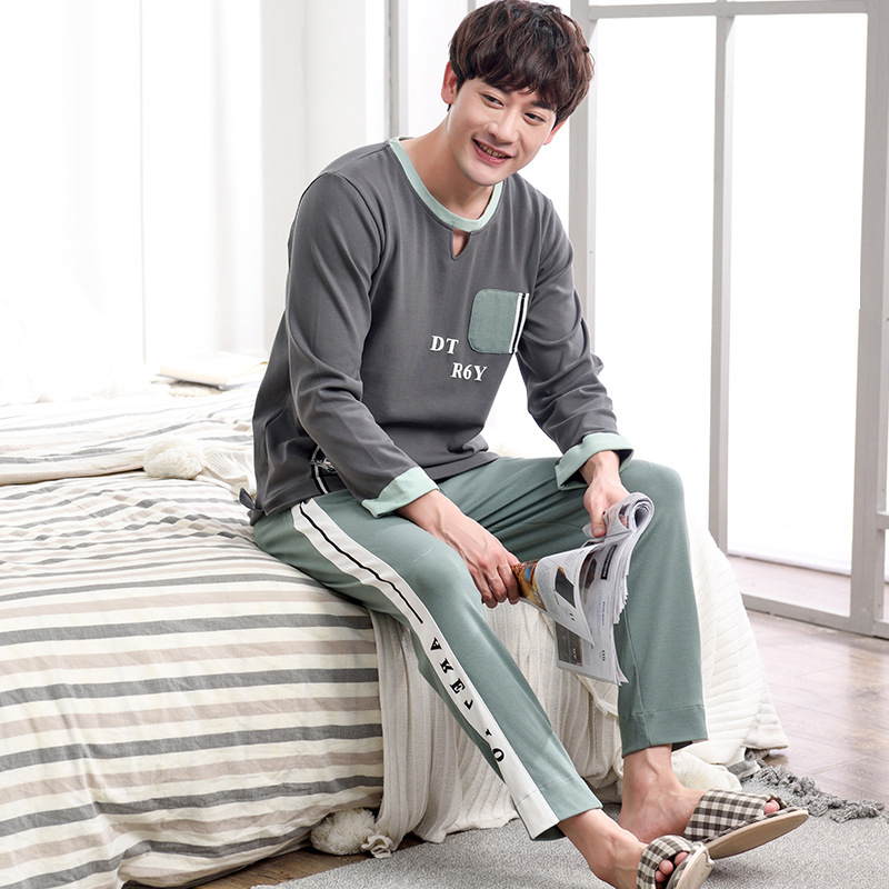 Men 2019 Spring And Autumn Wearable Long Sleeve And Pants Men Youth Cotton XL Casual Pajamas Sets Pajama Set Men Sleepwear
