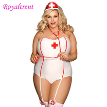 Sexy Nurse Uniform Babydoll Lingerie Plus Size Dress Role Playing Woman Tight Night White Waist