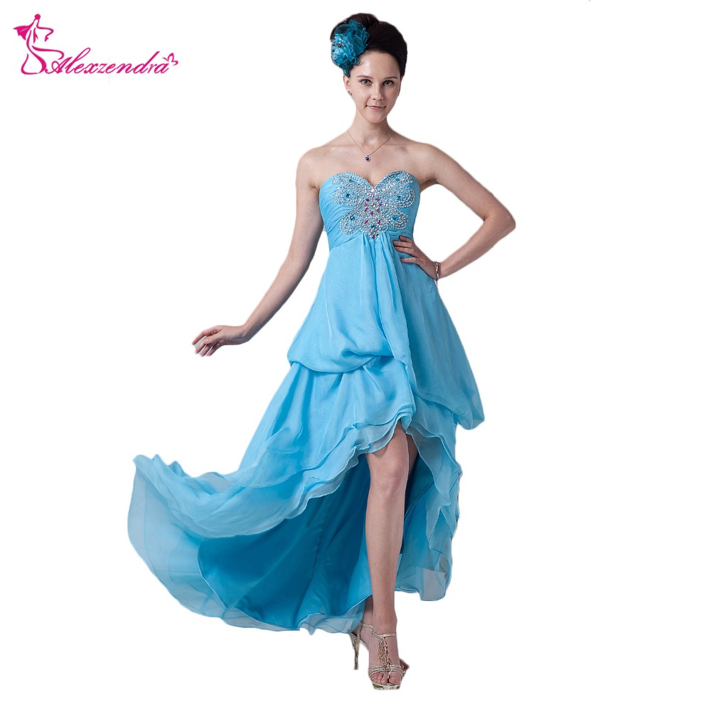 Alexzendra A Line Blue Chiffon High Low Beach   Prom     Dresses   Plus Size Beaded Sweetheart   Prom   Gowns Party   Dress