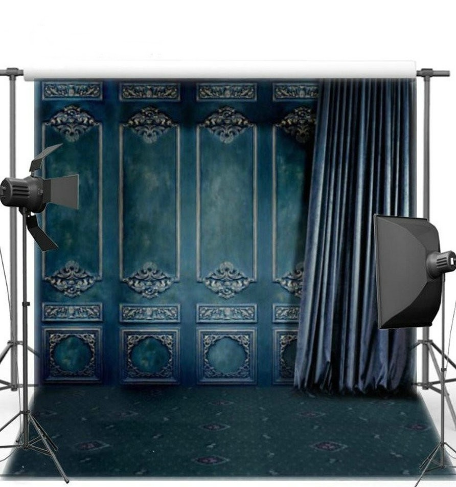 Royal Blue Curtain Old Door  backgrounds Vinyl cloth High quality Computer Print wedding photo backdrop