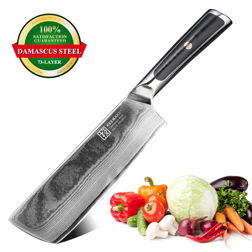 KEEMAKE 7 Cleaver Knife Chef Kitchen Knives Japanese Damascus VG10 Steel 73 Layers Sharp Blade Strong