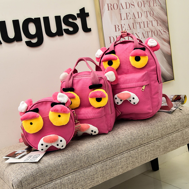 3pcs/set Pink Panther Backpacks For Teenage Girls School Bags Student Lovely Canvas Cute Bag Bolsas