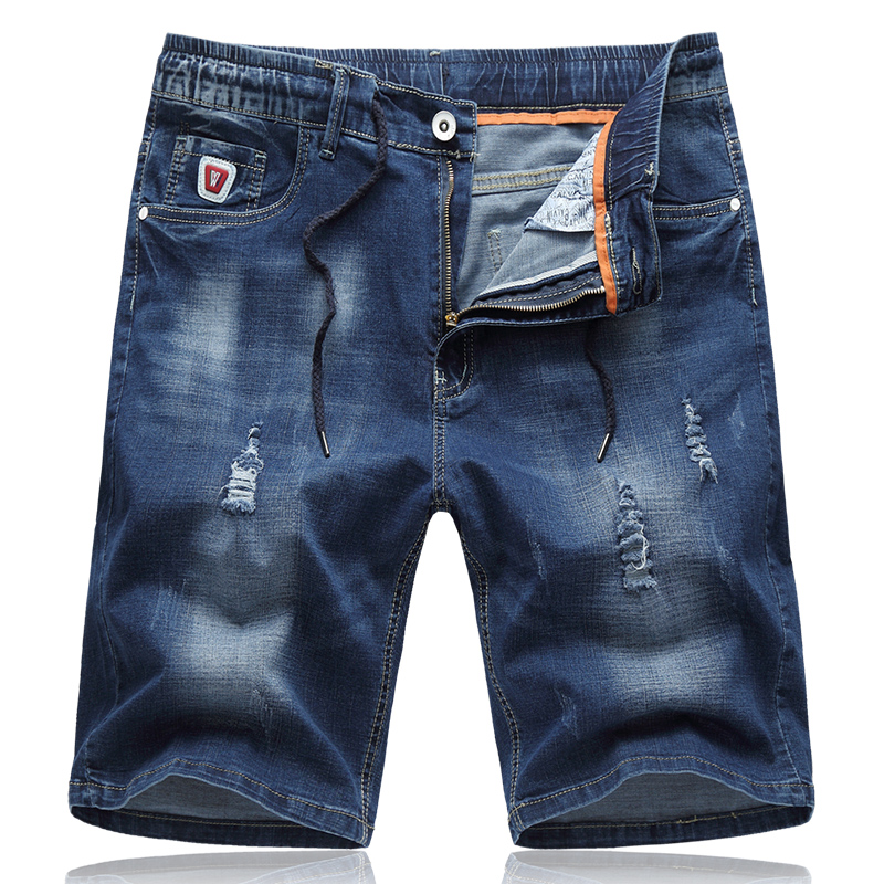 2017 new summer style men s short jeans casual fashion elastic drawstring hole cropped trouse men