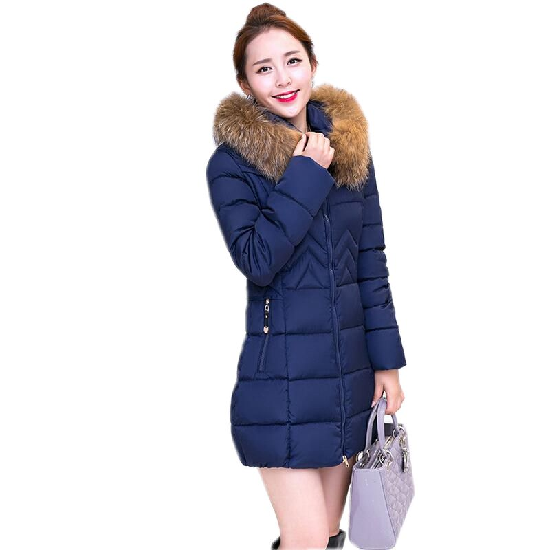 2017 New Winter Fashion Women Down jacket Hooded Thick Super warm Medium long Female Coat Long sleeve Slim Big yards Parkas NZ18 2017 new winter fashion women parkas hooded thick super warm medium long coat casual slim big yards cotton padded jacket nz308