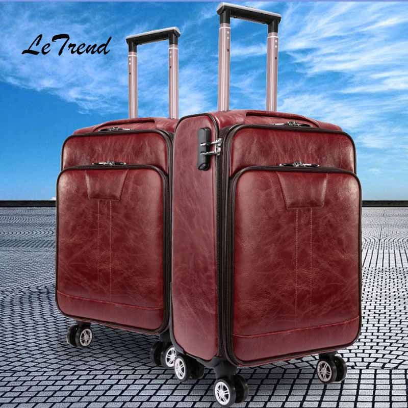 Letrend Rolling Luggage Spinner 32 inch High capacity Business Trolley Carry On Suitcases Wheels Business abroad Travel Bag letrend business oxford travel bag suitcases wheels student backpack rolling luggage large capacity trolley carry on trunk