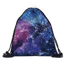 Handmade polyester Linen Storage Package Bag Drawstring Bag Travel Women Small Cloth Bag sky prints Christmas Gift pouch