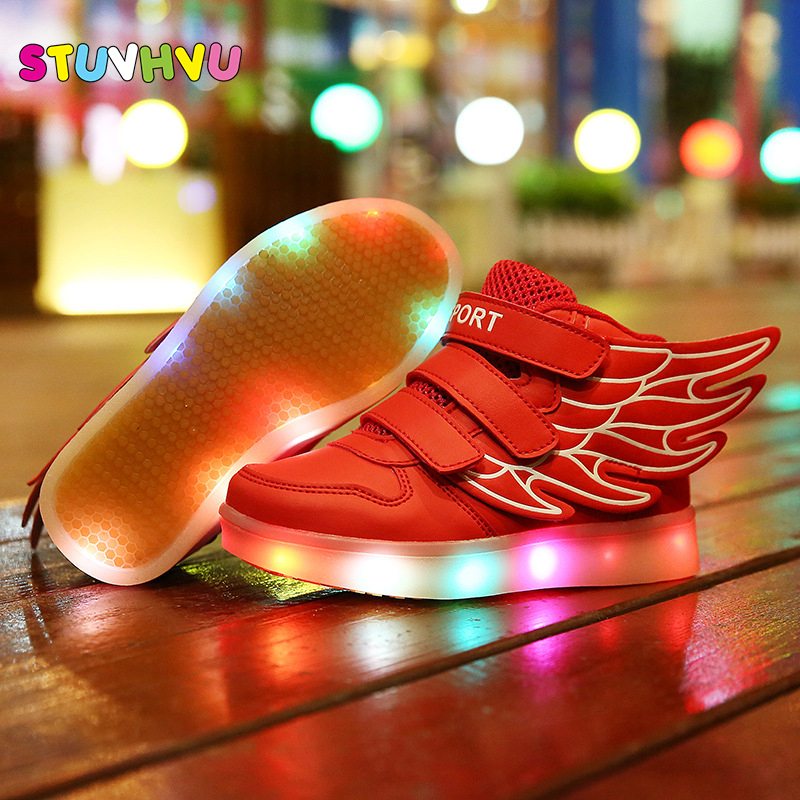 Hot Sale Kids Sneakers Children`s Angel Wings USB Charging Luminous LED Lights Shoes For kids Casual Flat Girls Boy sports Shoes