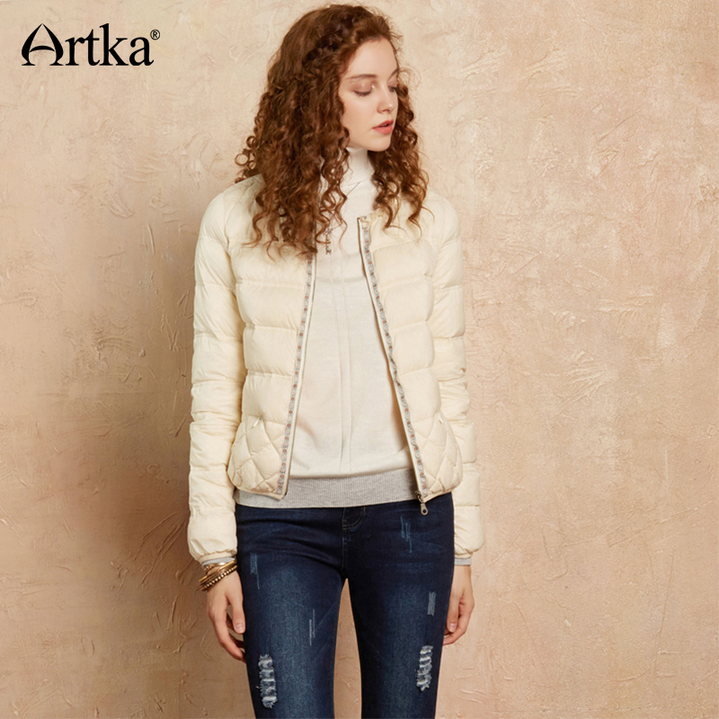 ARTKA Women's 90% Duck Down Jacket 2018 Winter Warm Parka Quilted Coats Ultra Light Down Jacket Embroidery White Coat DK10174Q