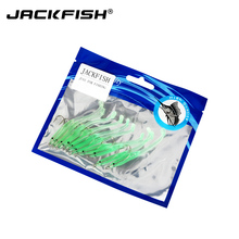 JACKFISH Luminous Soft Lures 7cm Fishing Soft Bait Tiddler Bait With Hook 10pcs/lot Fishing Lures Tackle Fishing accessories