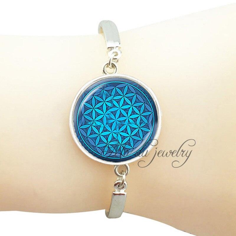 Blue flower of life charm bracelet spiritual mandala bracelet sacred geometry silver bracelet for women glass dome jewelry