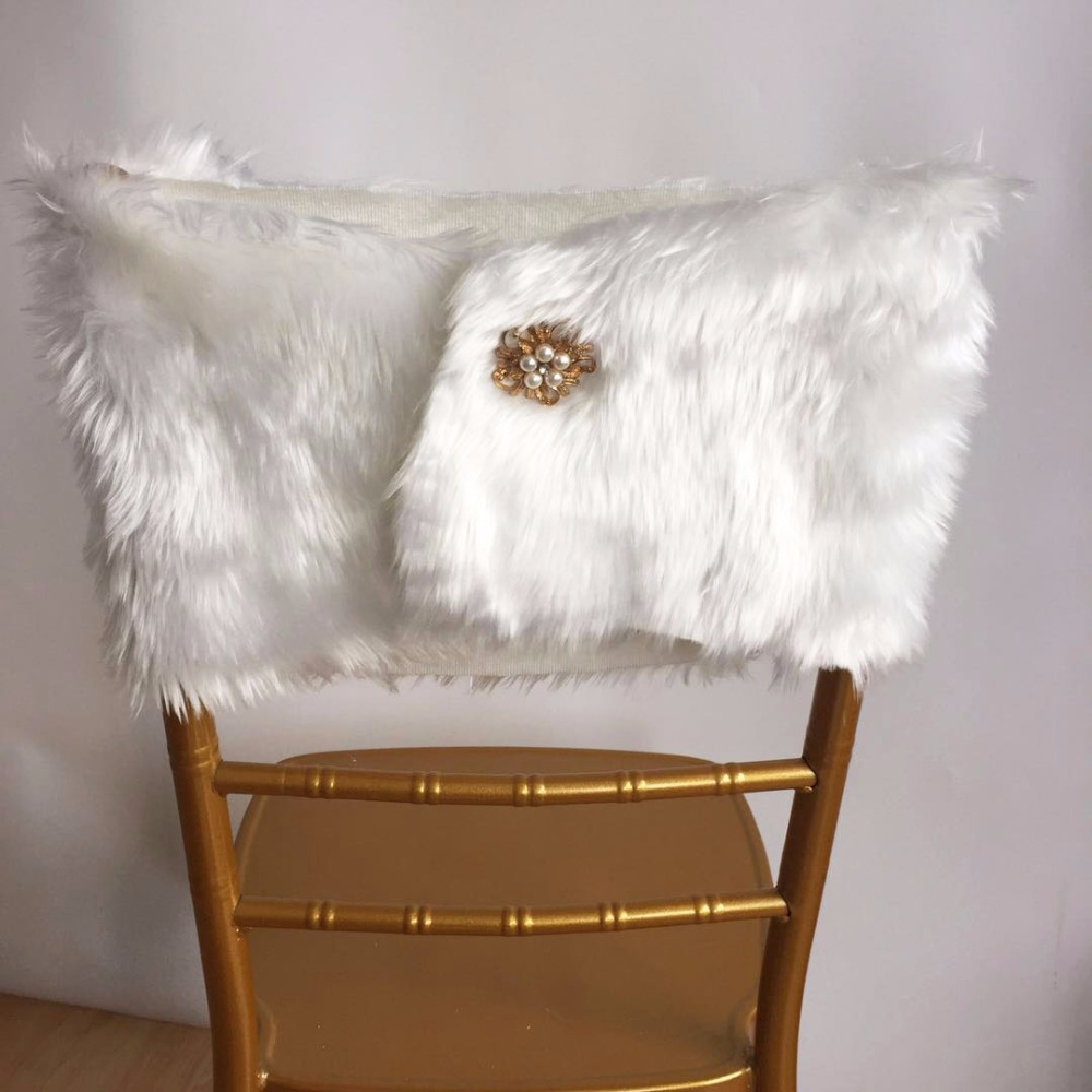 Faux Fur Chair Cover Quick Covers 10 Pcs Fashion Wrap Cap With Brooch For Christmas Wedding Decoration