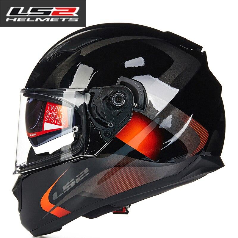 LS2 FF328 rosto cheio capacete capacete ls2 moto rcycle blindagem dupla com removível e lavável forro interno casco do capacete de moto